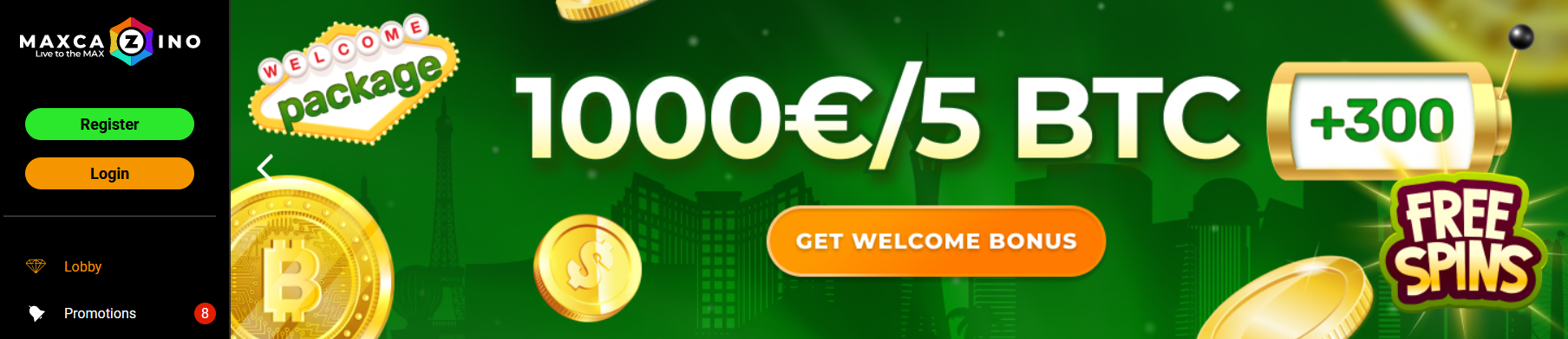 Maxcazino Freespins Welcome Package